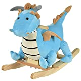 Qaba Kids Plush Ride-On Rocking Horse Toy Dinosaur Ride Rocking Chair with Realistic Sounds for Child 36 Months, Blue