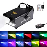 Fog Machine with Controllable Lights, VIRFUN Smoke Machine with 1 Wired Control and 2 Wireless Remote Controls, 13 Colorful LED Lights Effect for Halloween, Holidays, Weddings, Parties