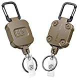 ELV Self Retractable ID Badge Holder Key Reel, Heavy Duty, 32 Inches Cord, Carabiner Key Chain Keychain, Hold Up to 15 Keys and Tools (2 Pack)