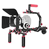 """Neewer Shoulder Rig Kit for DSLR Cameras and Camcorders, Movie Video Film Making System with Matte Box, Follow Focus, C-Shaped Bracket, 15mm Rods, Handgrip, 1/4"""" & 3/8"""" Threads (Red + Black)"""