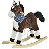 Qaba Kids Plush Ride-On Rocking Horse Toy Cowboy Rocker with Fun Realistic Sounds for Child 3-8 Years Old, Brown