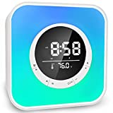 All in One Bluetooth Speaker with Alarm Clock, Colorful Night Light, Temperature Display, Hands-Free Calls, MP3 Player Function