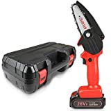 Handheld Cordless 4 inch mini Chainsaw, Electric Small Chainsaw Powered by Battery for Wood and Tree Trimming and Pruning | Portable Chain Saw Hand Tool with Case, Battery and Charger Included