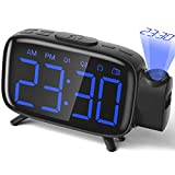 Alarm Clock Projection Clock Digital with Power Adapter and Brightness Adjustment for Home and Bedroom Blue