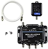 Arris 4-Port Bi-Directional Cable TV, OTA, Satellite HDTV Amplifier Splitter Signal Booster with Passive Return And Coax Cable Package - cableTVamps