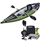 Elkton Outdoors Steelhead Inflatable Fishing Kayak - One-Person Angler Blow Up Kayak, Includes Paddle, Seat, Hard Mounting Points, Bungee Storage, Rigid Dropstitch Floor and Spray Guard