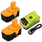 2Packs P100 3.6Ah Ni-Mh Battery Replacement for Ryobi 18V Battery ONE+ and P117 Charger for Ryobi 9.6V-18V Lithium Ni-Cd&Ni-Mh Battery P102 P103 P104 P105 P107 P108 P109 P119 P122