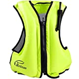 Rrtizan Swim Vest for Adults, Buoyancy Aid Swim Jackets - Portable Inflatable Snorkel Vest for Swimming, Snorkeling, Kayaking, Paddle Boating and Other Low Impact Water Sports Safety