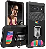 Wallet Case for Google Pixel 6 with Card Holder Slot with Stand Kickstand Ring Slim Heavy Duty Defender Armor Military Grade Black