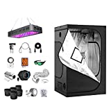 iPower Grow Tent Kit Complete A1900C Full Spectrum LED Plant Light Lamp Indoor Hydroponics 48'x48'x78' Greenhouse Combo with 6' Fan Filter Ventilation, System Setup Package for Veg Flower