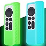 Case for Siri Remote 2021, Silicone Cover Compatible with Apple TV 4K / HD Remote Control, Latest Model 6th Generation Remote Controller Holder Skin Sleeve 2 Pack Green and Sky Blue