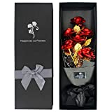 24k Gold Roses, Gold Plated Rose 24k Gold Dipped Rose with Luxury Gift Box for Her, Artificial Forever Rose Bouquet Unique Gift for Valentine's Day Anniversary Wedding Mother's Day Birthday - Red