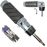 Heavy Duty RATCHETING SCREWDRIVER - ADJUSTABLE ANGLE - 3 Way Ratchet - NONSLIP Big Rubber Grip - Multibit Storage w/Ph Hex Torx Bits   Durable Portable Screw Driving Solutions from Mars-Tool