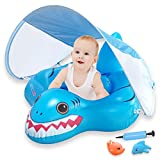 InflateJoy Baby Floats for Pool, Adorable Shark Shape Baby Float with Canopy, Baby Floaties for 3-36 Months Infants, Large Size