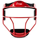 Champion Sports Steel Softball Face Mask - Classic Fielders Masks for Adults - Durable Head Guards - Premium Sports Accessories for Indoors and Outdoors - Red