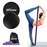 Resistance Bands and Exercise Sliders Fitness Kit, Professional Gliding Discs Core Sliders for Smooth Sliding On Carpet or Hardwood Floors - Small Fitness Equipment for Home Gym Travel (Black)
