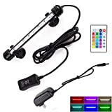 LED Aquarium Light, Submersible Fish Tank Lights Color Changing Light Waterproof Underwater LED Lighting Memory Function Dimmable 16 Colors 4 Modes, 7.5 inch