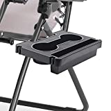 Evron Zero Gravity Chair Tray,Cup Holder for Zero Gravity Lounge Chair,Bag Hanging Design Recliners Cup Holder Tray Clip On Chair Table/Tray for Carrying iPhone/iPad/Thermos Cup/Books Black