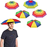 5 Pack Umbrella Hat With Head Strap, Funny Rainbow Colorful Waterproof Fishing Umbrella Beach Party Adjustable Size Fits For All Ages, Kids, Men & Women - (Patterns May Vary)