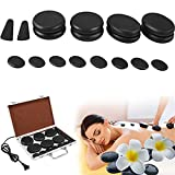 Massage Stones, Electric Hot Stone for Massage Natural Back Massage Set Professional Basalt Hot Stones with Heater Kit for Home SPA Relaxation Treatment Pain Relief