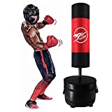 SUOTF Boxing Heavy Bag Set MMA Freestanding Punching Bags with Stand Karate Bag with Stand Youth (Height 55 inch, Red)