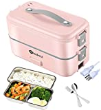Electric Lunch-Box Food Heat up - MIAINTL 110V Portable Food Warmer Lunch Heater Egg Steamer with Removable Stainless Steel Food Container (Pink)
