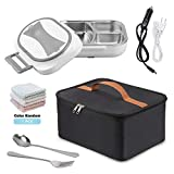 12V 110V Dual Use Heating Bento Food Heater for Car Home Office, Portable Meal Lunch Heater Food Warmer with Insulation Bag Cooler Reusable Tote Bag and Stainless Steel Container(Gray)