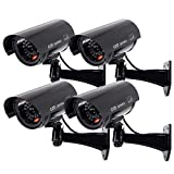 Outdoor Fake Security Camera, Dummy CCTV Surveillance System with Realistic Red Flashing Lights and Warning Sticker (4, Black)