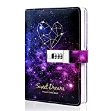 Starry Lock Leather Diary Combination Lock Journal Personal Constellation Secret Writing Journal Notebook Daily Planner Hardcover Agenda Gifts for kids girls boys women, 7.4 X 5.1 In
