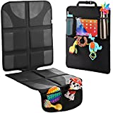 H Helteko Car Seat Protector with Thickest Padding + Backseat Car Organizer, XL Largest Car Seat Cover for Child Baby Carseat, Waterproof & Durable 600D Fabric, Kick Mat Back Seat w/Storage Pockets