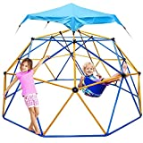Jugader Dome Climber with Swing and Hammock, 10FT Climbing Dome for Kids 3 to 10 - Rust & UV Resistant Steel, Supporting 800LBS, Geo Jungle Gym for Indoor & Outdoor (3 Years Warranty)