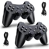 PS3 Controller Wireless, Replacement for Playstation 3 Controller, PS3 Wireless Controller Substitute for Sony PS3 Controller, with Double Shock, 6-Axis Sensor and Fast Charging Cable, 2 Pack Black
