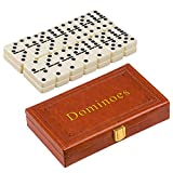 ZOOCEN Double 6 Dominoes Set in Leatherette Case (28 Tiles with Spinner)