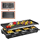 Artestia Raclette Table Grill,1200W Electric Indoor Grill,8 Paddles Korean Bbq Grill,Cheese Raclette with Grill Stone and Non-Stick Reversible Alumin