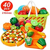 Cutting Play Food Kitchen Pretend - Grocery Basket Toys for Kids 40pcs Children Girls Boys Educational Early Age Basic Skills Development, Include Fruits Vegetables Pizza Knife Mini Dishes