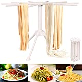 BUYGOO Pasta Drying Rack Collapsible, Noodle Drying Rack with 10 Bar Handles, Household Noodle Dryer Rack Hanging for Home Use, Spaghetti Drying Rack Noodle Stand for Making Fresh Pasta at Home