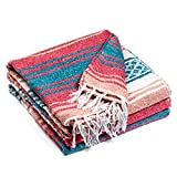 Authentic Mexican Blanket - Premium Yoga Blanket Beach Blanket - Perfect Picnic Blanket, Travel Blanket, Outdoor Blanket - Well Made Yoga Bolster (Blue & Pink)