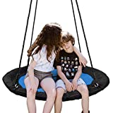 SUPER DEAL 40' Waterproof Saucer Tree Swing Set, Attaches to Trees or Existing Swing Sets - 360 Rotate°, Adjustable Hanging Ropes for Kids, Adults and Teens, 700lb (Blue)