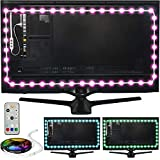 Power Practical LED Lights for TV in Living Room or Bedroom – Luminoodle Backlight, USB Powered Strips w/ Remote for 15 Ambient Color Bias Lighting Options & 10 Brightness Modes, Size (60'-80' TV)