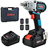 ENEACRO 20V Cordless Impact Wrench Brushless Motor 300 Ft-lb Max Torque,4.0 AH Battery with Fast Charger,3 Variable Speed,1/2 Inch Detent Anvil,Belt Clip,Carrying Case
