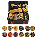HNZHB 12 Pieces Bey Burst Battling Top Gyros Game Toys Battle Evolution Metal Fusion Spinning Tops Set with 3 Launchers Storage Box for Boys Kids Children Ages 6+