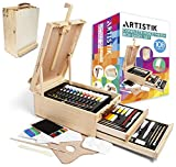 Adjustable Wooden Table Sketchbox Easel - Portable 3-Drawer Wooden Artist Easels for Sketching and Painting with Desktop Storage, Solid Beechwood