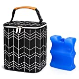 BABEYER BreastMilk Cooler Bag with Ice Pack Fits 4 Baby Bottles Up to 9 Ounce, Baby Bottle Bag Fits for Nursing Mom Daycare, Black