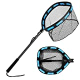 Floating Fishing Net Folding Landing Net with Foam Padding, Rubber Coated Mesh Net, Freshwater& Saltwater Easy Catch & Release for Bass, Walleye, Small Redfish, Speckled Trout, Kayak, Canoe etc.