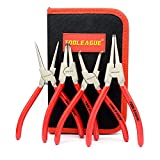 TOOLEAGUE 4 Pcs Snap Ring Pliers Set, Circlip Pliers, 7 Inches Internal/External Heavy Duty C Clip Pliers for Ring Remover Retaining with Storage Pouch
