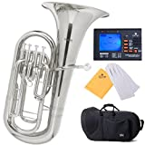 Mendini by CECILIO MEP-N Nickel Plated B Flat Euphonium with Stainless Steel Pistons