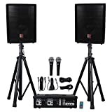 Rockville Package PA System Mixer/Amp+10' Speakers+Stands+Mics+Bluetooth, (RPG2X10)