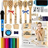 PANDALIKE Wood Burning Bamboo Utensils Kit - Craft Set with 6 Wooden Spoons for Cooking, Pyrography Branding Iron Pen, Colored Pencils, Wood Slices, Stencils, Storage Case - Woodworking Gift - 59pcs