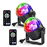 Ezire Sound Activated Party Lights with Remote Control Dj Lighting, RGB Disco Ball, Strobe Lamp 7 Modes LED Stage Light for Home Room Outdoor Holidays Wedding Club Dance Karaoke Parties, 2 Pack