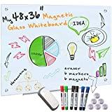 Glass Whiteboard for Wall - 4' x 3' Frameless Magnetic Dry Erase Board with 6 Markers for Glass, 6 Magnets Board and Eraser for Dry Erase Boards